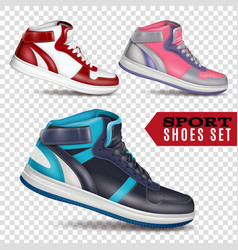 color sport shoes on transparent background vector image