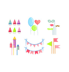 colorful party symbols set celebration birthday vector image