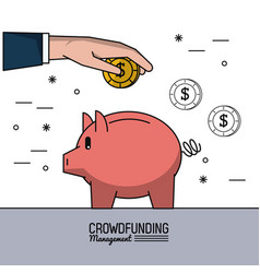 colorful poster of crowd funding management with vector image