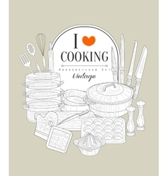 Cooking Utensils Vintage Sketch vector