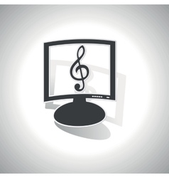 Curved music monitor icon vector