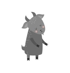 Cute cartoon gray goat mammal farm animal vector image