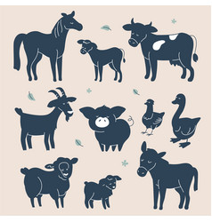 cute farm animals silhouettes - flat design style vector image