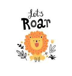 Cute roaring lion in jungle vector