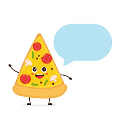 cute smiling funny cute pizza slice talking vector image