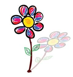 daisy art with shadow vector image