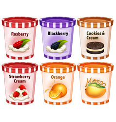 Different flavors of icecream in cups vector
