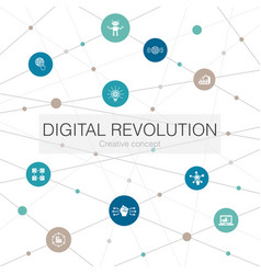 Digital revolution trendy web template with simple vector