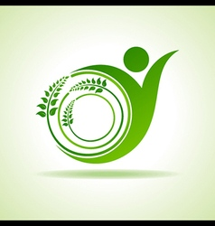 Eco people celebration icon with leaf design vector image