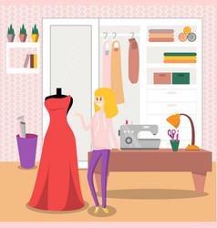 Female dressmaker sewing elegant red dress for her vector