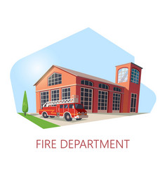 fire station or department building with truck vector image