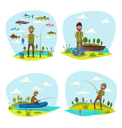 Fisher man fishing big fish catch vector