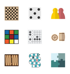 Flat icon entertainment set of chess table gomoku vector