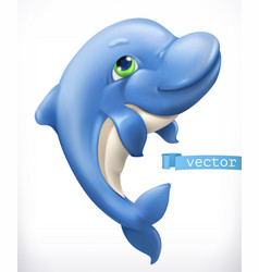 funny dolphin 3d icon vector image