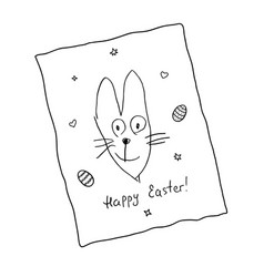funny easter bunny with lettering happy easter vector image