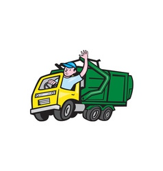 Garbage Truck Driver Waving Cartoon vector image