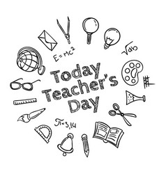 greeting card frame or poster to happy teachers vector image