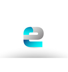 Grey blue alphabet letter e logo 3d design vector