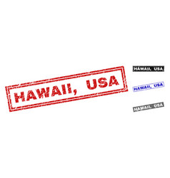 grunge hawaii usa textured rectangle stamp seals vector image