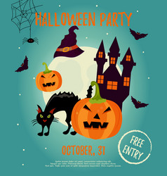 halloween background with creepy house moon cat vector image