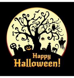 Halloween - cemetery and old tree vector image