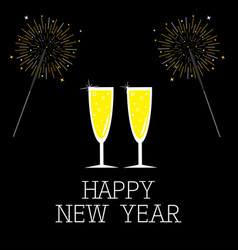 Happy new year bengal light set champagne glasses vector