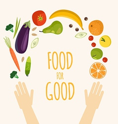 Healthy food flat objects fruits and vegetables vector image
