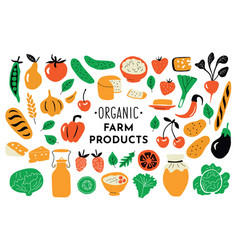 healthy food organic products set funny doodle vector image