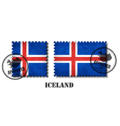 Iceland flag pattern postage stamp with grunge vector