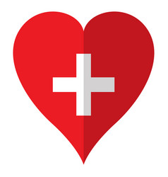isolated flag of switzerland on a heart shape vector image