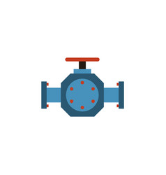 Isolated pipe pump valve flat icon flange vector