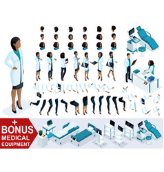 Isometric woman doctor african american create vector