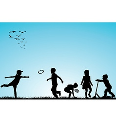 Kids silhouettes playing outdoor vector image