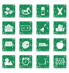kindergarten symbol icons set grunge vector image