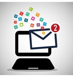 laptop message email social media icons vector image