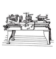 large power lathe vintage vector image