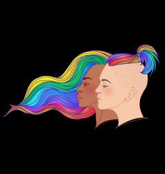 Lesbian couple with rainbow hair non binary vector