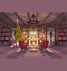 Living room decorated for christmas and new year vector