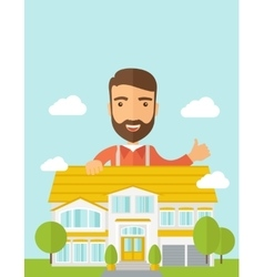 Man at the back of house structure plan vector