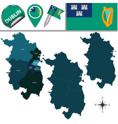Map of dublin with counties vector