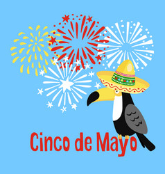 Mexican cinco de mayo greeting card party vector