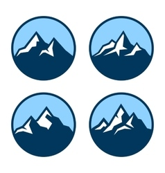 Mountain in circle logo design elements vector