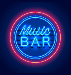 neon music bar signboard on the red background vector image