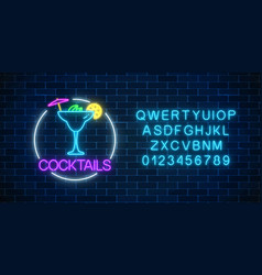 Neon sambuca cocktail sign in circle frame with vector