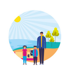 parent and daughters shore sand landscape vector image