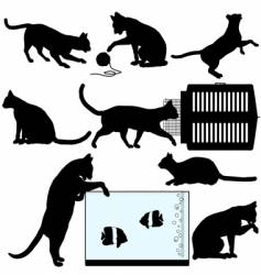 Pet cat silhouette vector