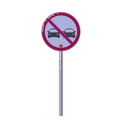 Prohibited overtake traffic signage vector