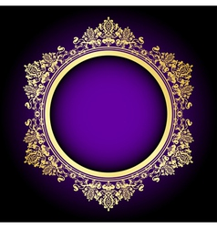 Purple and gold frame vector