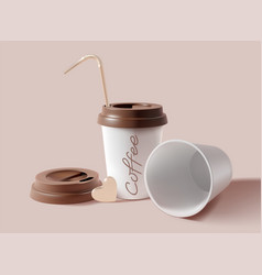 realistic detailed 3d paper coffee cup set vector image