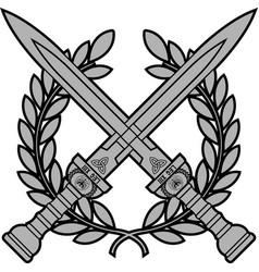 Roman swords with laurel wreath vector
